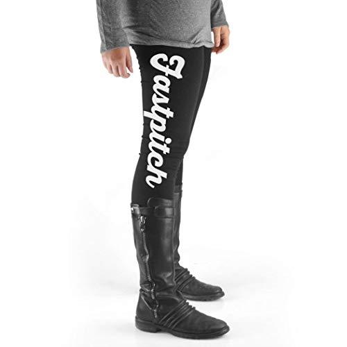 ChalkTalkSPORTS Softball High Print Legging Fastpitch Script White ()