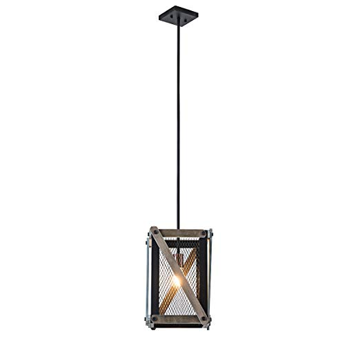 Lanros One-Light Rustic Foyer Pendant Lighting, Wood Mesh Cage Industrial Lantern Lights with Matte Black Frame for Entryway, Kitchen Island, and Dining Room