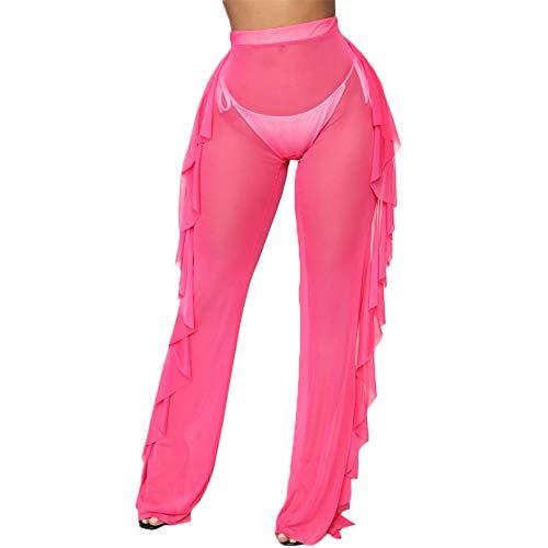 Women See Throug Mesh Flare Cover up Pants Swimsuit Bikini Bottom Cover up Elastic Waist Wide Leg Palazzo Trousers (XL, - Pant Waist Suit