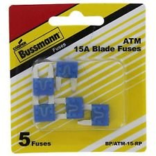 Bussmann ATM-15 ATM Automotive Blade Fuse - 15 Amp, 5 Pack (Tin)