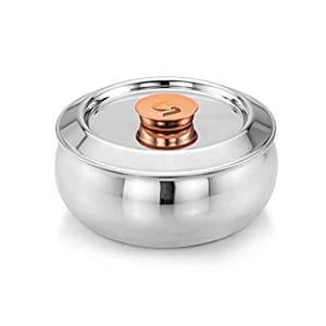 S&S Stainless Steel Double Wall Jazz Thermoware Insulated Casserole Hotpot with Lid (Color: Silver; Capacity: 2500 ml)