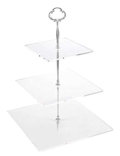 Jusalpha 3 Tier Strong Acrylic Square Cupcake Stand, Dessert Display Tower (Silver Version 2, 1) 3SS-V2