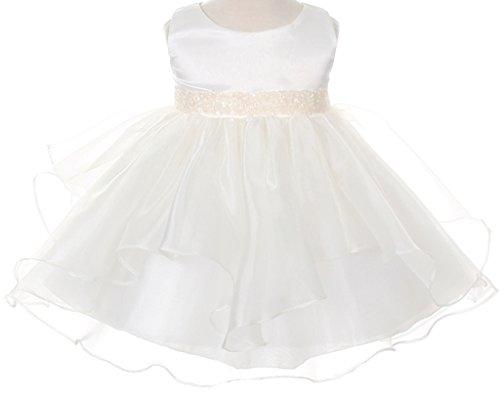 Infant & Baby Flower Girl Dress with Sequin Embellished Waistline Ivory XXL (Embellished Rose)