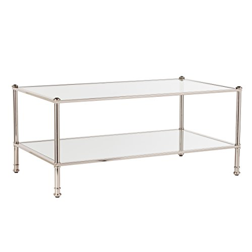 Southern Enterprises Paschall Cocktail Table - Metallic Silver w/Mirrored Shelves - Glam Styling (Tables Cocktail Mirrored)