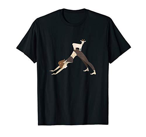 - Cute Goat Yoga T-Shirt - Downward Facing Dog Yoga Pose