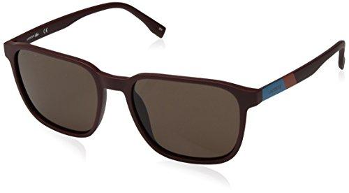 Lacoste Men's L873s Plastic Square Color Block Sunglasses, Matte Bordeaux, 55 mm