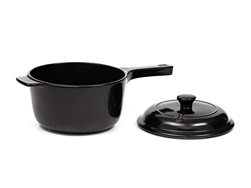 Traditions Ceramic Cookware by Xtrema - 3.5 Quart (Qt) Saucepan with Lid - Stove, Oven, Grill, Microwave & Dishwasher Safe - Black