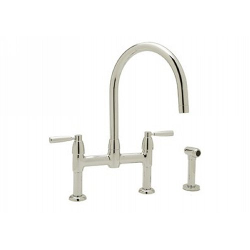 Rohl U.4273LSAPC-2 Polished Chrome Perrin & Rowe Perrin & Rowe Contemporary Bridge Kitchen Faucet with Sidespray, Metal Lever Handles