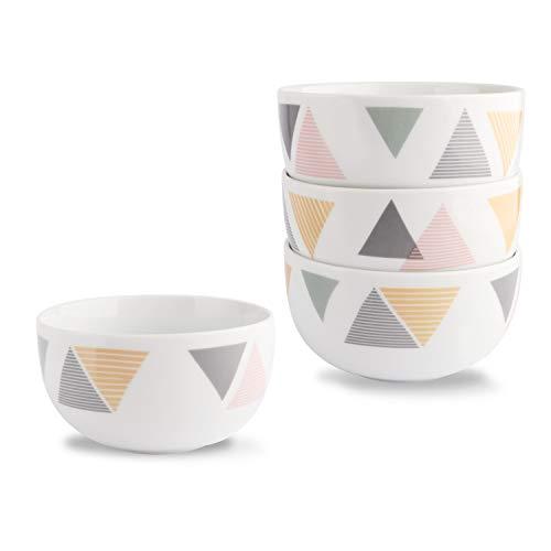 HF HOFTEN Bowl Set, 4 Pieces 12 oz Porcelain Bowl Set for Cereal, Soup, Ice Cream and Salad, Durable and Food Grade Ceramic Bowl Set, Microwave and Dishwasher Safe (BOWL45-4P01) (Ceramic Ice Cream Bowls Set Of 4)
