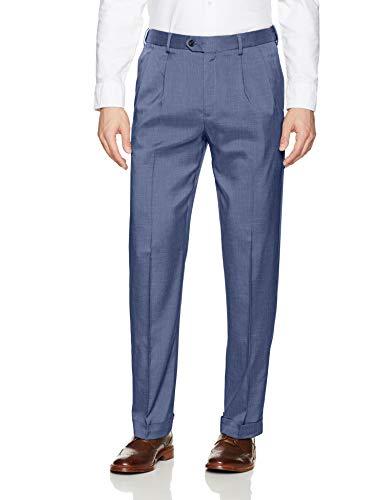 Savane Men's Pleated Stretch Crosshatch Dress Pant, Vintage Indigo, 36W x ()