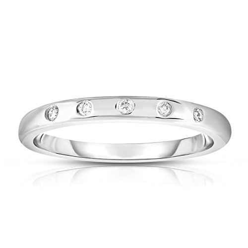 Noray Designs 14K White Gold (0.06 Ct, G-H, SI2-I1 Clarity) Stackable Ring. Available in sizes 4 to 9. (White Gold Spring Ring)