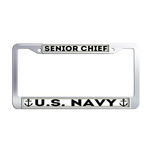 US Navy Senior Chief License Plate Frame,Stainless Steel Auto License Tag Holder