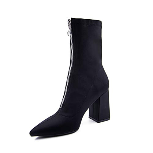 T-JULY Summer Mid Calf Boots Women High Heels Pointed Toe Socks Boots Sexy Lycra Fashion Shoes Ladies Thick Heels Footwear Black ()