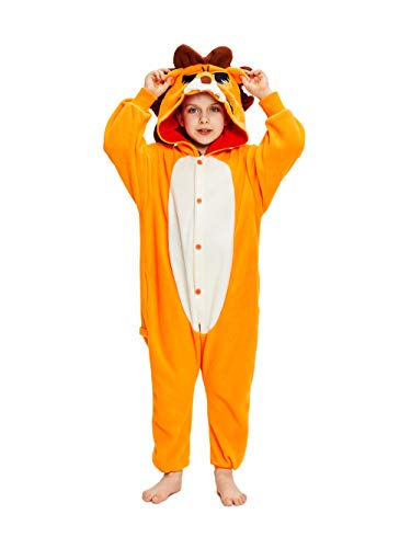 NEWCOSPLAY Unisex Children Animal Pajamas Halloween Costume (125#, Lion) -