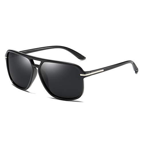 Heptagram Goggle Hot Retro Aviator Polarized Classic Driving Men Sunglasses (Black Frame/Black ()