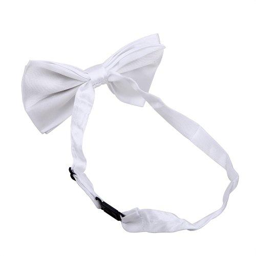 Adjustable Tied Polyester Satin Tuxedo Party HDE White Wedding Pre Bowtie 6xqCCR