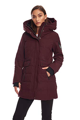 - Alpine North Womens Down MID-Length Winter Coat with Hood, Grape, XS
