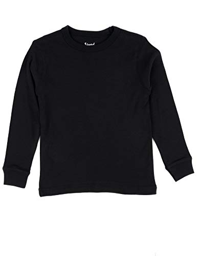 - Leveret Long Sleeve Solid T-Shirt 100% Cotton (6 Years, Black)