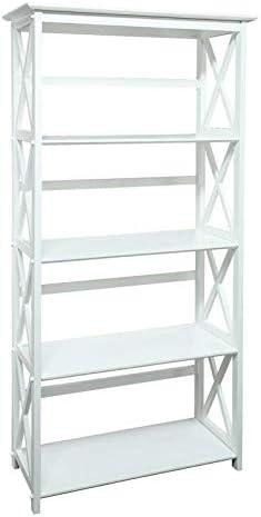 White 5 Tier Bookshelf Ladder Bookcase Free Standing Display Book Shelves Trestle Bookcase Shelf Storage Organizer Statue Figurine Home Decor Furniture Livingroom Dining Office Modern Style, Wood