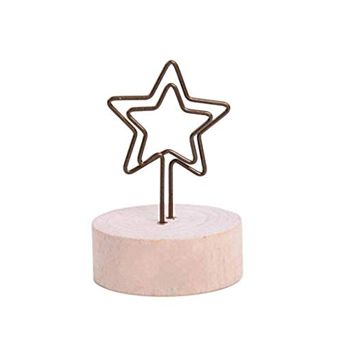 Clearance Sale!DEESEE(TM)Rustic Real Wooden Base Place Card Holders Iron Wire Picture Picks Clip -