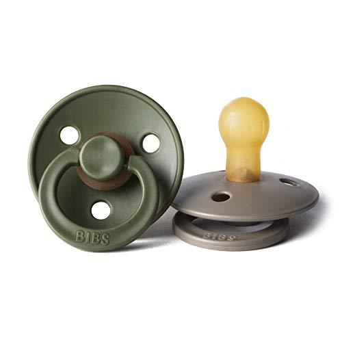 (BIBS BPA-Free Natural Rubber Baby Pacifier | Made in Denmark (Hunter Green/Dark Oak, 0-6 Months))