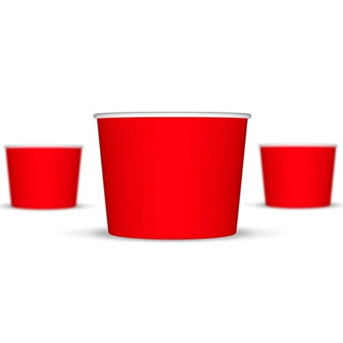 16 oz Ice Cream Cups, Red Paper Cups, Birthday Party Cups- These Disposable Containers Are What You Need For Your Party, These Frozen Dessert Cups Are Great For Ice Cream Or Other Sweet Treats (Frozen Yogurt Paper Cups compare prices)