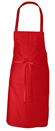 Elaine Karen Adult Men's Women's Unisex Chefs Bistro Adjustable Extra Long Ties, Professional Commercial Grade Bib Apron - RED - 2 PK