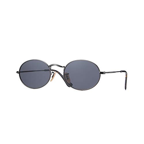2020Ventiventi Unisex Hipster Polygon Style Black Frame/Smoke Lens Polarized Stainless Steel Sunglasses with Asymmetry Temple for Small Face