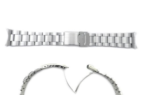 Over Clasp Fold Locking Double - Seiko Silver Tone Stainless Steel 22mm Double Locking Fold-Over Clasp Watch Bracelet