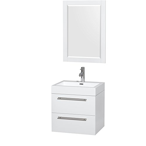 - Wyndham Collection Amare 24 inch Single Bathroom Vanity in Glossy White, Acrylic Resin Countertop, Integrated Sink, and 24 inch Mirror
