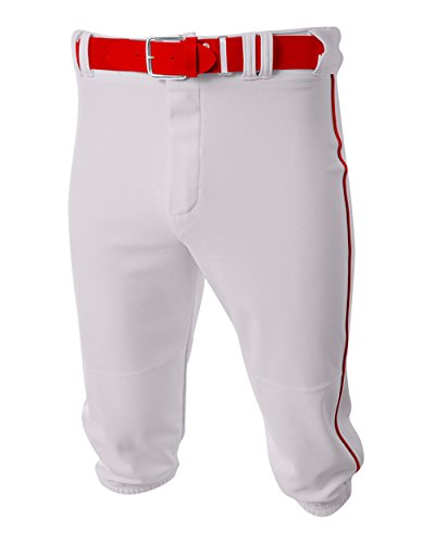 A4 Sportswear Baseball/Softball Knee High Pants White/Scarlet Red Side Piping Youth Medium Old School ()