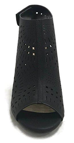 Delizioso Taglio Laser Donna A Punta Aperta Con Tacco Alto E Sandalo Con Tacco A Spillo Nero