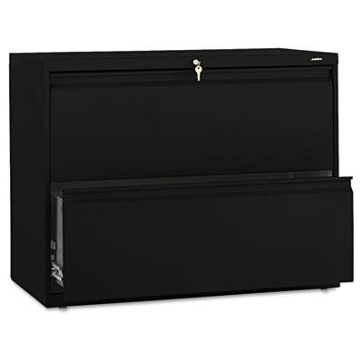 - Hon Brigade 800 Series Two-Drawer Lateral File, 36W X 19.25D X 28.38H Inches - Black