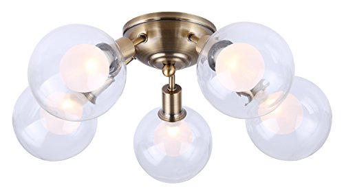 Canarm Estella 7 Light Chain Chandelier with Clear and Frosted Double Glass - Gold Finish -  - kitchen-dining-room-decor, kitchen-dining-room, chandeliers-lighting - 31%2BfH4lsKCL -