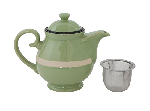 Creative Co-Op Green Stoneware Teapot with Strainer