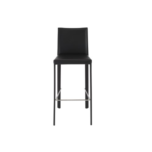 Euro Style Hasina Regenerated Leather Bar Height Chair, Set of 2, Black