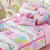 Cozy Line Pink Owl 2 Pcs Quilt Set for Kids/Girls Bedding (Owl, Twin - 2 Piece) (Owl, Twin - 2 Piece)