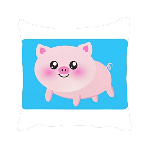 Cute Cartoon Pig Decorative Throw Pillow Cover Square Pillowcase with Hidden Zipper Decor Cushion Gift for Home Sofa Bedroom Couch (Dreamsack White Pillowcase)