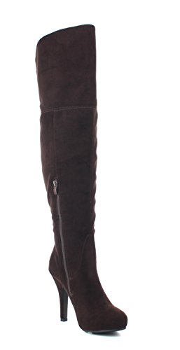 Knee Refresh Lana Boot High Women's 14 Sueded Brown rnRPfr4