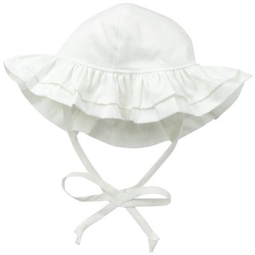 Flap Happy Baby Girls' Upf 50+ Double Ruffle Hats, White, X Small