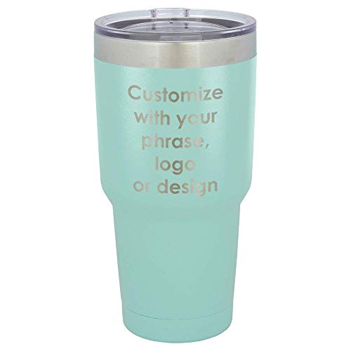 Personalized Teal 30 oz Tumbler With Spill Proof Lid and Straw | Custom Phrase, Logo, Bible Verse or Design | Insulated Travel Mug | Compare To Yeti Rambler ()
