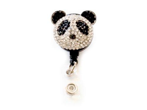 (New Custom Bling Shimmering Rhinestone 3D Panda Bear Badge Reel Retractable ID Badge Holder Pull Reel (A: Black Backing))