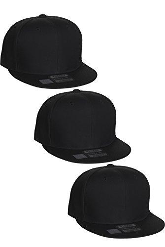 Baseball Snap (L.O.G.A Plain Flat Bill Visor Blank Snapback Hat Cap with Adjustable Snaps - 3 Pk - Black, Black, Black)