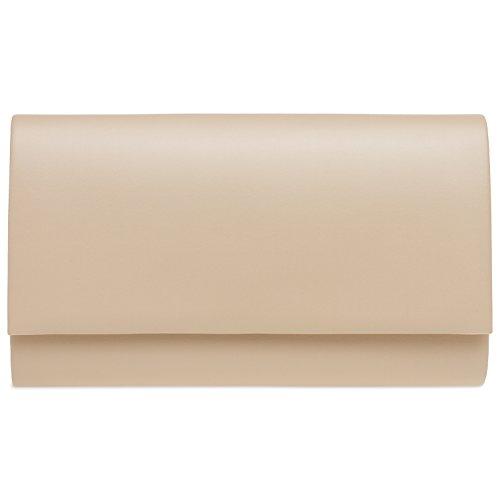 CASPAR TA412 Damen große Envelope Metallic Baguette Clutch Tasche Abendtasche Nude KMjxlOU