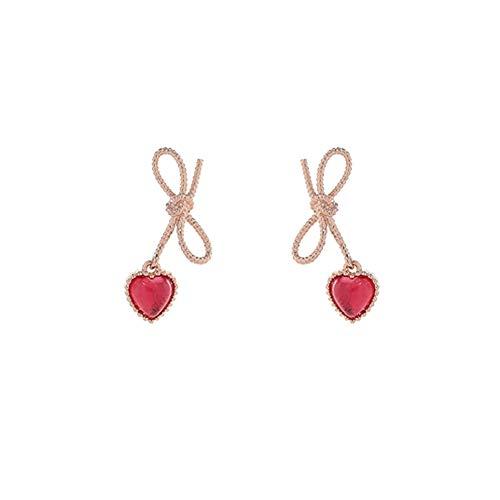 Twisted Ribbon Bow Stud Petite Earrings Heart Dangle Earrings for Woman Teen Girls (Red)