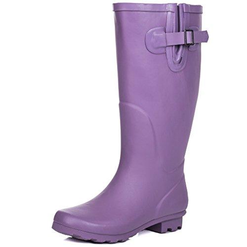 Spylovebuy Karlie Plat Festival Wellies Wellington Genou Haute Pluie Bottes Violet