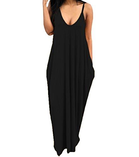 Spaghetti Sleeveless Shift Dresses Striped Maxi Strap Dresses Summer Deep C black Pockets with Womens V Liyuandian Neck Long Dress WSgA00