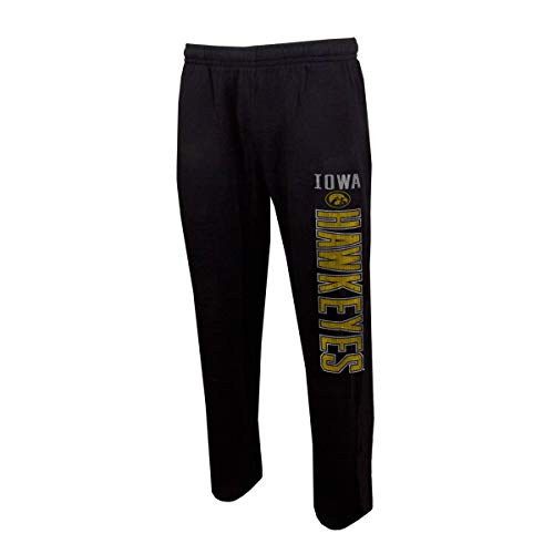 Concepts Sport Men's NCAA Vintage Retro-Squeeze Play-Pajama Pants-Heathered-Iowa Hawkeyes-Black-Large - Iowa Hawkeyes Lounge Pant