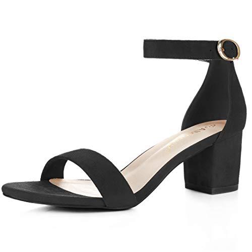 Women's faux K Open Ankle Suede Heel Allegra Toe Sandals Black Strap Block q5wddxvT