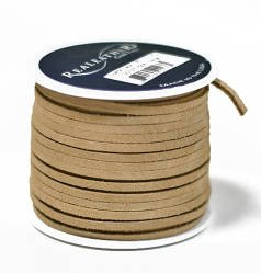 (Factory Direct Craft Spool of Beige Split Suede Leather Lacing - 25)